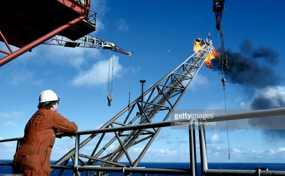 Oil rig worker on North Sea