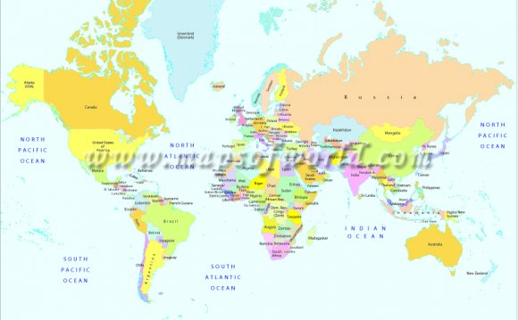 Printable World Map   B&W and
