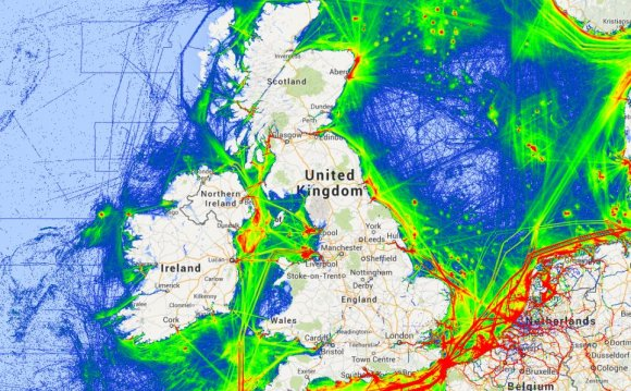A view of shipping routes