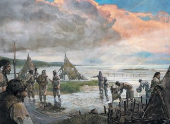 Picture of artwork depicting a Mesolithic camp in Doggerland