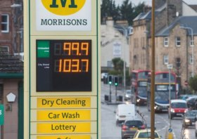 The price of petrol at the pumps is now below where it was in real terms a decade ago. Picture: Toby Williams