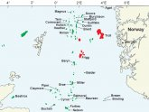 Map of North Sea oil rigs