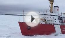 Canadian Coast Guard Breaks Through Ice to Set Ferry Free