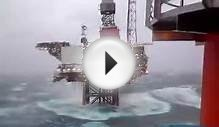 Dunbar Oil Rig in North Sea - Hit by huge wave (14-12-2008)