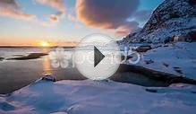 Lofoten Winter Coastline Sunset 4K Time Lapse, Norway