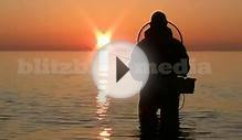 Stock Footage Europe Germany Baltic Sea Sunset Fishing
