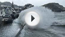 UK weather: Seawalls breached in Ilfracombe