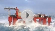 VIDEO: Huge Waves Crash Against Swaying North Sea Oil Rig
